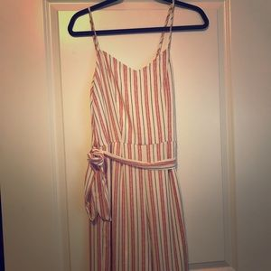 Pink and white striped jumpsuit